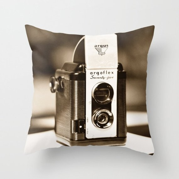 Vintage Camera Throw  Pillow Cover