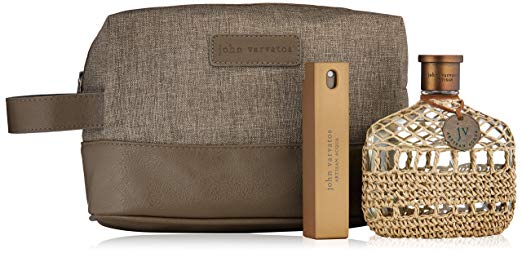 John Varvatos Travel toiletry Bag,Acqua Eau de Toilette Spray, 4.2 oz,Eau de Toilette Travel Spray .57 oz