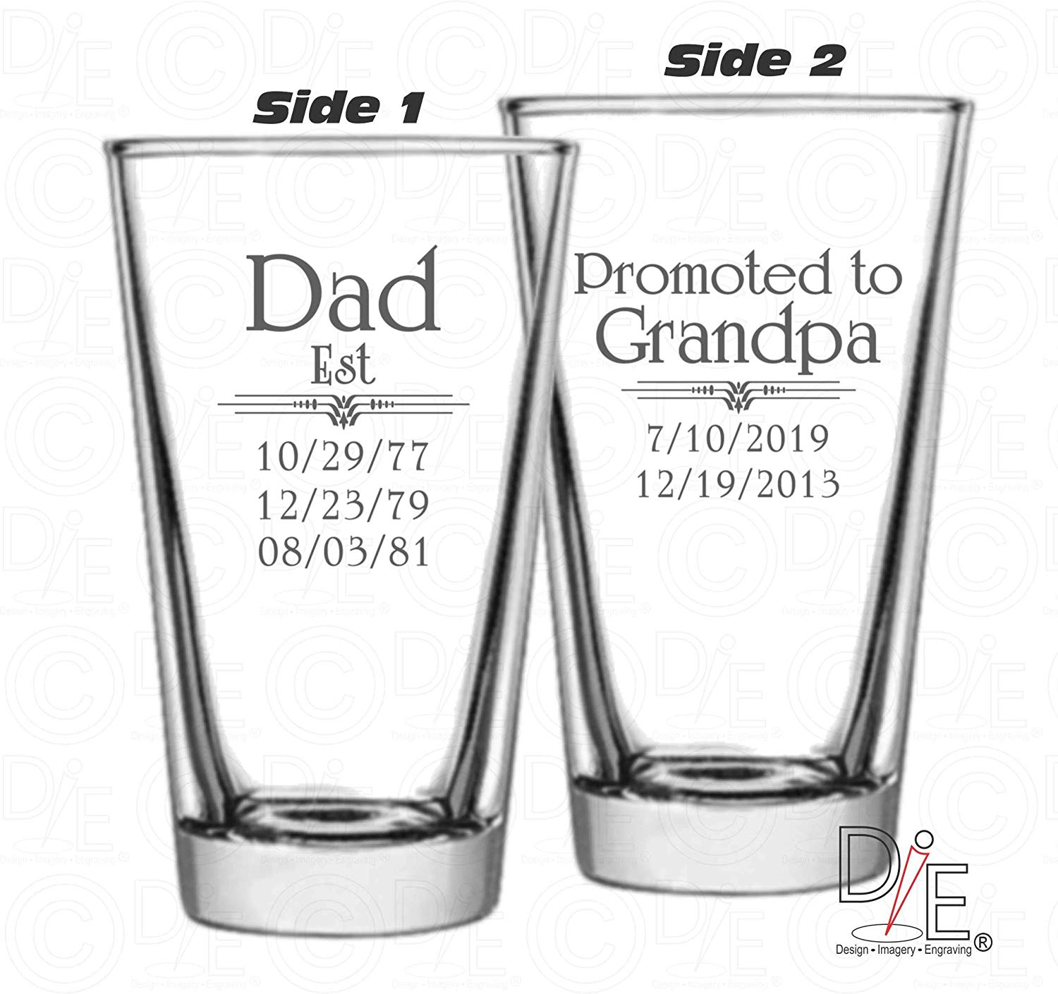 Father's Day Gift Dad Est Beer Glass