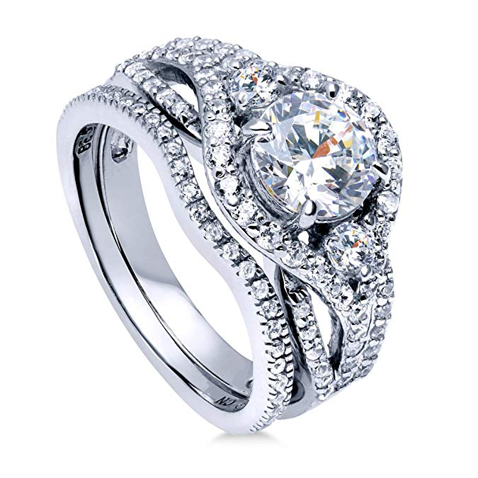 BERRICLE Rhodium Plated  Zirconia Ring